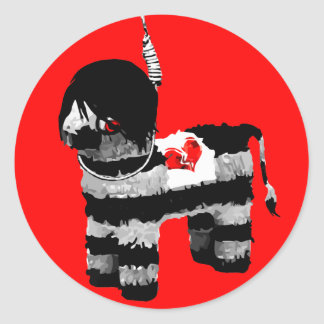 emo piñata round sticker