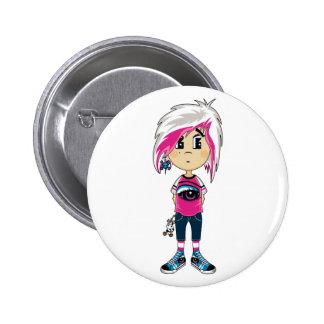 Emo Punk Girl Badge Pinback Button
