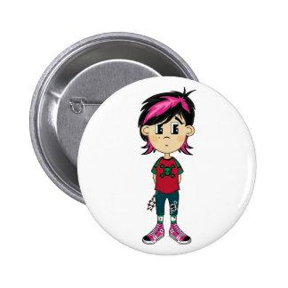 Emo Punk Girl Badge Pinback Buttons