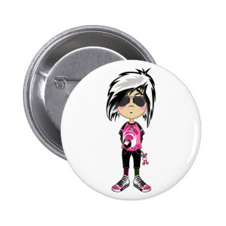 Emo Punk Girl in Shades Badge Buttons