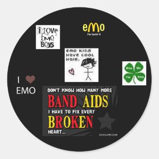 emo round sticker
