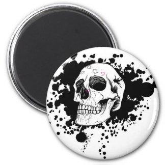 EMO Skull 6 Cm Round Magnet