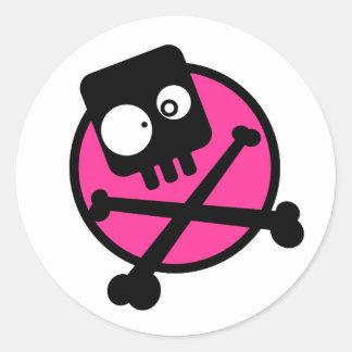 Emo Skull And Crossbones Round Sticker