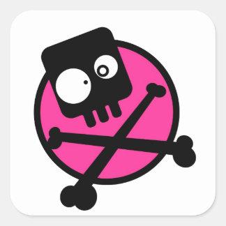 Emo Skull And Crossbones Square Sticker