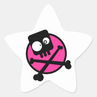 Emo Skull And Crossbones Star Sticker
