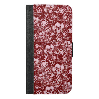 emo skull background iPhone 6/6s plus wallet case