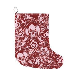 emo skull background large christmas stocking
