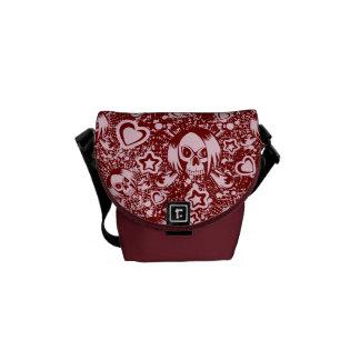 emo skull background messenger bag