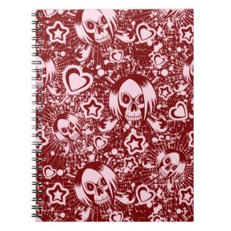 emo skull background notebook