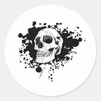 EMO Skull Round Sticker