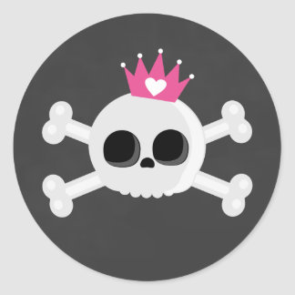 Emo Skull with Crown Classic Round Sticker