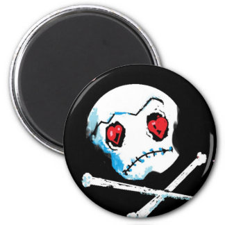 "Emo Skulls & Hearts : ""I love you death"" accessory 6 Cm Round Magnet"