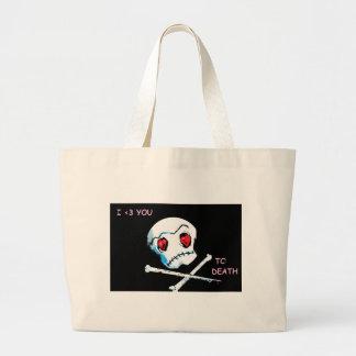 "Emo Skulls & Hearts : ""I love you death"" accessory Tote Bag"