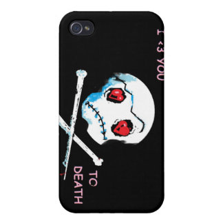 "Emo Skulls & Hearts : ""I love you death"" accessory iPhone 4 Case"