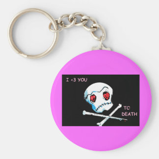 "Emo Skulls & Hearts : ""I love you death"" accessory Key Chains"