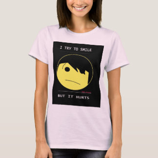 "EMO SMILEY (Emotioncons!!) ""hurts to smile"" T-Shirt"