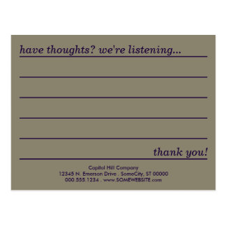 emo style comment card postcard