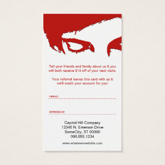 emo style referral program business card