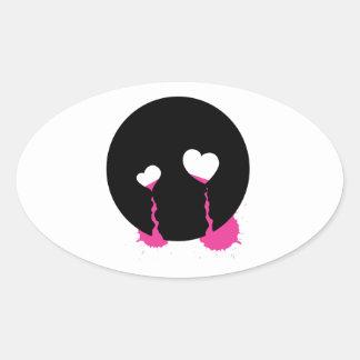Emo Tears Oval Stickers