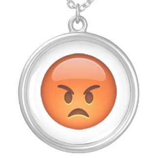 Emoji - Angry Silver Plated Necklace