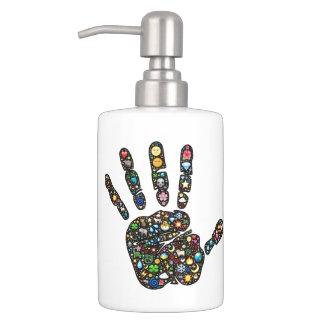 Emoji-art droplet and handprint bath set