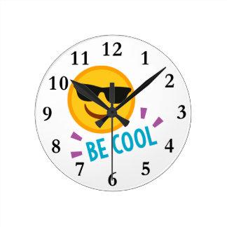 Emoji Be Cool Round Clock
