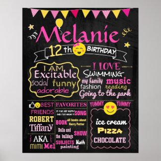 Emoji Birthday party chalkboard sign pink girl