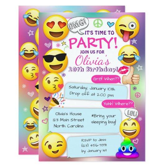 Emoji Birthday Party Invitations Girl Invitation