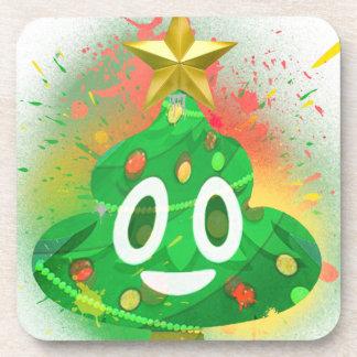 Emoji Christmas Tree Spray Paint Coaster