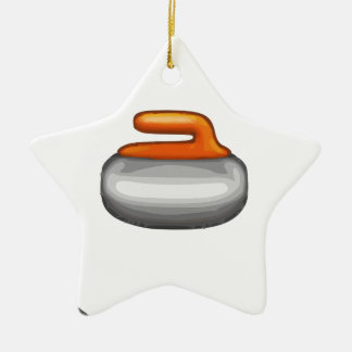 Emoji Curling Stone Ceramic Ornament