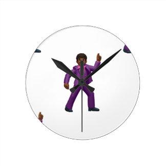 Emoji Dancing Man Round Clock