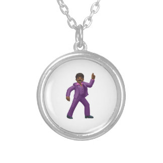 Emoji Dancing Man Silver Plated Necklace