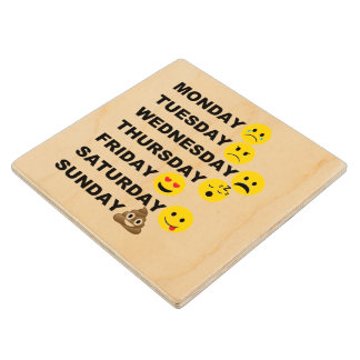 Emoji Days Wood Coaster
