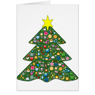 Emoji-decorated tree Holiday greeting card