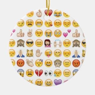 emoji round ceramic ornament