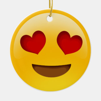 Emoji Double-Sided Ceramic Round Christmas Ornament