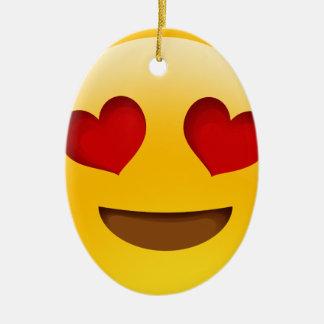 Emoji Double-Sided Oval Ceramic Christmas Ornament