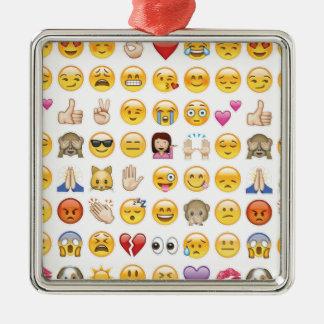 emoji Silver-Colored square ornament