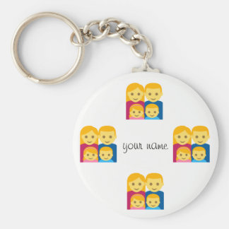 """Emoji Family and '' Your Name Here """" Basic Round Button Key Ring"""
