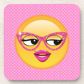 Emoji Flirty Girl ID227 Beverage Coasters