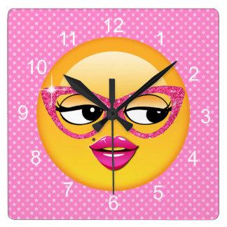 Emoji Flirty Girl ID227 Wallclock