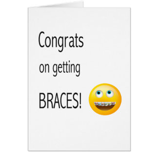 Emoji getting Braces Congratulations Card