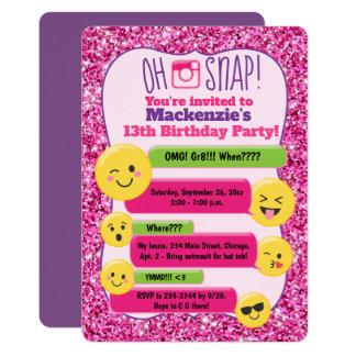 Emoji Girl's Teen Tween Birthday Pink Glitter