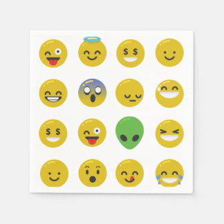 Emoji happy face paper napkins