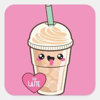 Emoji Iced Latte Square Sticker