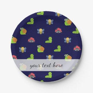 emoji lady bug caterpillar snail bee polka dots 7 inch paper plate