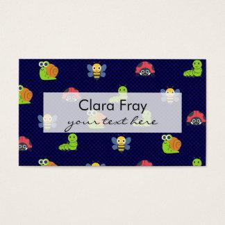 emoji lady bug caterpillar snail bee polka dots business card