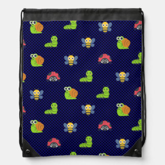 emoji lady bug caterpillar snail bee polka dots drawstring bag