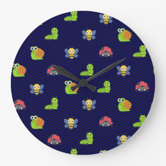 emoji lady bug caterpillar snail bee polka dots large clock