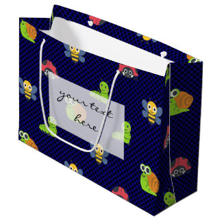 emoji lady bug caterpillar snail bee polka dots large gift bag